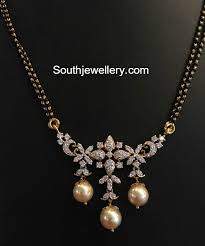 black pearl chain necklace images Black beads mangalsutra chain with diamond pendant mangalsutra 39 s jpg