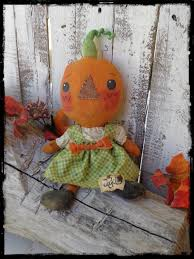 primitive pumpkin rag doll jack o lantern halloween folk art