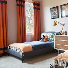 orange bedroom curtains blue and orange boys bedroom with orange curtains with blue