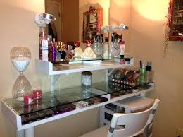 Glass Makeup Vanity Table Top Shelf Furniture Lovely Glass Makeup Vanity Table Featuring