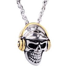 necklace skull images Valily jewelry mens necklace skull head with bluetooth headset jpg