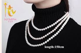 round pearl necklace images Nymph long natural pearl necklace real freshwater near round pearl jpg