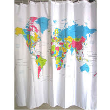 online get cheap shower bath map aliexpress com alibaba group new creative stylish world map bath shower curtain with white plastic c type hook