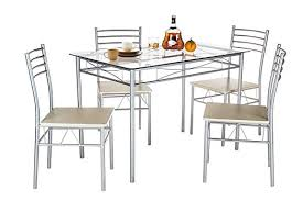 glass dining room table sets vecelo glass dining room table sets and 4 chairs silver amazon