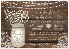 jar wedding invitations rustic wood lace wedding invitation jar card wedding