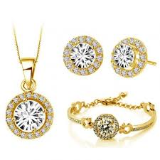 gold earrings necklace images Yellow gold jewellery set white diamante stud earrings necklace jpg