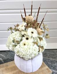 white floral arrangements pumpkin floral arrangements