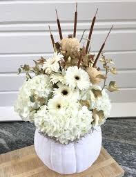white floral arrangements pumpkin floral arrangements