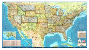 Map Of The United States With Cities United States Political Wall Map By Compart Maps New Us Us