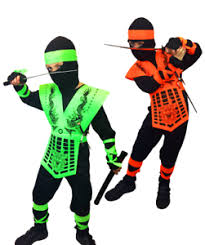 Halloween Neon Costume Boys Neon Green Orange Dragon Ninja Costume Kids Halloween Kombat