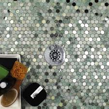 beautiful combination of marble and glass penny round mosaics