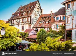 province france beautiful town of colmar in alsace province of france on a summer