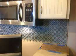 blue tile backsplash kitchen arabesque blue tile backsplash using an adhesive mat hometalk