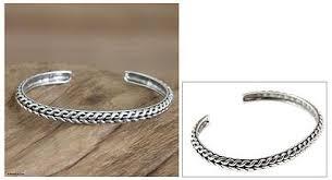 cuff bracelet sterling images Men 39 s handmade sterling silver cuff bracelet waterfall novica jpg