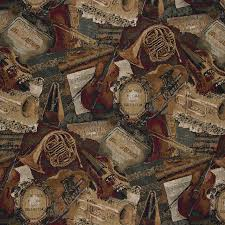 orchestra symphony violins trumpets theme tapestry upholstery