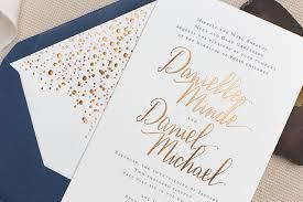 wedding invitations calligraphy copper foil and navy calligraphy wedding invitations