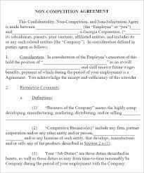non compete agreement 7 free pdf doc download