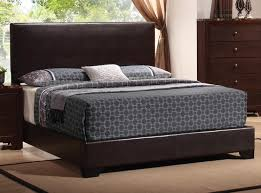 black leather upholstered headboard combined with grey patterned