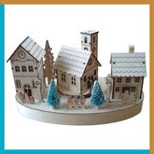 180 degrees christmas village bavarian church in square wooden