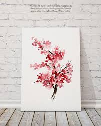 Cherry Home Decor by Cherry Blossom Painting Pink Art Print Set Of 2 Watercolor