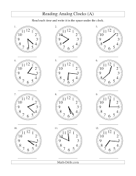 reading time on an analog clock in 1 minute intervals a