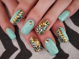 mint and gold leopard acrylic nails fill youtube