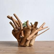 Handicraft Home Decor Items Art Decor Home Decor Woodwork Wooden Vase Handicraft Flowerpot