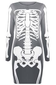 womens jersey skeleton bones halloween ladiesbodycon tunic t shirt