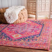 4 X 8 Kitchen Rug Traditional Vintage Blooming Rosette Pink Area