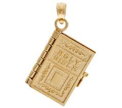 14k gold yellow moveable bible pendant page 1 qvc