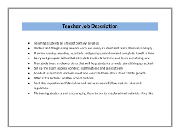 Job Description Resume Samples by Teacher Resume Sample Pdf