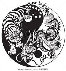 and tiger yin yang symbol of and balance black and
