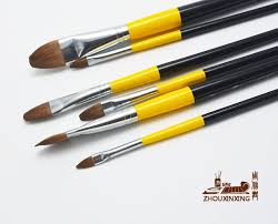 Makeup Artist Supplies 6pcs Set Weasel Hair Artist Paint Brush Wood Rod Set Acrylic Oil