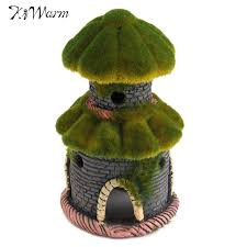 kiwarm resin ancient moss house castle ornament aquarium fish tank