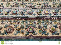 Tile Decoration Colorful Aged Flower Ceramic Tile Decoration At Buddhist Temple
