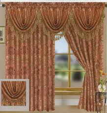 tiffany jacquard set of 3 waterfall valances with gold accent rod