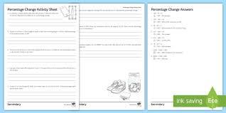 percentage change activity sheet ks3 foundation ks4