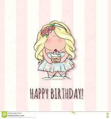 Doodle Birthday Card Happy Birthday Card For Girl Cute Little Doodle Stock Vector