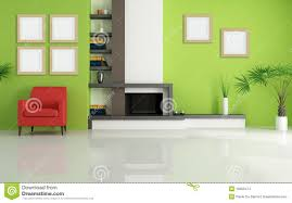 Green Livingroom Green Living Room With Modern Fireplace Stock Images Image 10352474