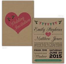 personalised kraft day evening wedding invitations birds bunting
