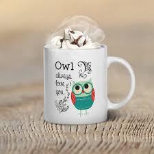 mug design for him christmas gift owl mug owl lover gift christmas gift idea