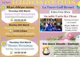easter at murcia golf resorts with lollipops fun clubs and smartie
