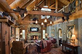 western home interior log home with barn wood and western decor traditional living