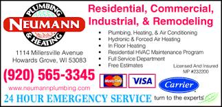 millersville plumbing neumann plumbing heating inc howards grove wi 53083 1440