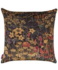 Cushions Velvet Faria Flowers Vintage Velvet Cushion In Blackberry Liberty London