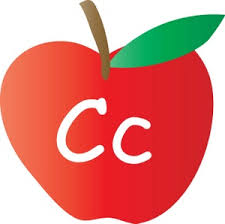 alphabet clipart image an apple with the letter c written on it