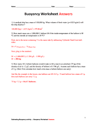 fillable online buoyancy worksheet answers teachengineeringorg