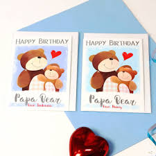 personalised daddy papa bear birthday card by liza j design
