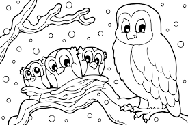 Winter Coloring Pages Snowy Owl Coloringstar Of Pictures To Color Winter Coloring Pages Free Printable