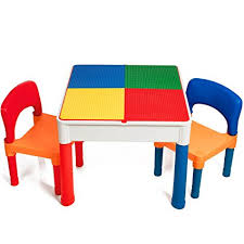 duplo table with chairs amazon com smart builder toys kids 2 in 1 duplo and compatible